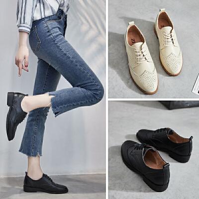 ZHR2018春季新款少女chic小皮鞋复古鞋子平底休闲鞋英伦风女鞋潮E132