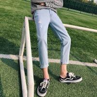 夏季男士牛仔裤韩版潮流修身裤子男英文刺绣九分裤港风破洞裤男裤