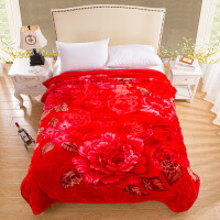 大红字结婚双层加厚肤云毯婚庆家居柔保暖红色双人毛毯子