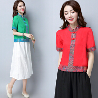 中国风上衣衬衫夏季新款复古民族风女装中式改良唐装汉服短袖T恤