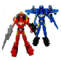 儿童玩具男孩巨神战击队3超救分队机器人变形玩具红霄卫可动套装蓝旋 奥迪双钻正品保证