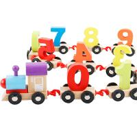 儿童早教智力男女孩1-3-6周岁积木质玩具数字拖拉小火车拼装组合