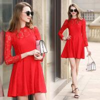 大红色连衣裙回门装春秋新款长袖蕾丝高腰显瘦红裙子结婚礼服