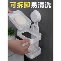 浴室吸盘肥皂盒双层香皂盒沥水创意香皂架