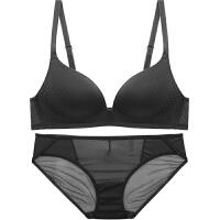新款夏季性感无痕纯色女内衣套装无钢圈聚拢上托小胸舒适薄款文胸 黑色 文胸+内裤