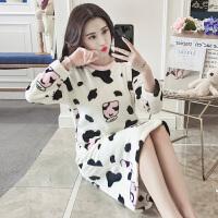 秋冬珊瑚绒睡衣女冬季韩版卡通学生甜美可爱加厚睡裙法兰绒家居服