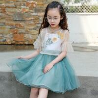女童连衣裙2018夏装新品中国风两件套唐装裙古风汉服儿童舞蹈服裙
