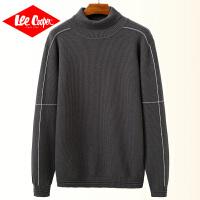 Lee Cooper秋季高领毛衣男长袖休闲针织衫潮流拼接上衣男士毛衣