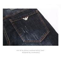 深蓝色简约百搭牛仔裤男装秋冬季新款欧美风修身型小脚青年长裤子 深蓝色