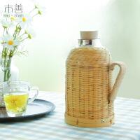 复古老式竹编水瓶壳 竹编水瓶外壳 竹编暖壶保温壶热水瓶