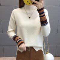 秋冬季新款宽松休闲半高领毛衣女装加厚时尚针织衫女士打底衫上衣 均码