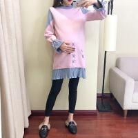 孕妇秋冬装孕妇毛衣连衣裙2018时尚款套头拼接针织打底衫两件套装