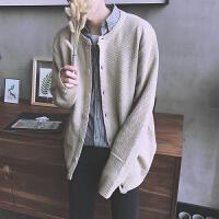 秋季日系开衫针织衫长袖毛衣男士韩版宽松白色外套情侣纯色毛线衣