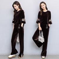 秋季新款韩版金丝绒休闲运动套装女中老年妈妈装九分袖两件套