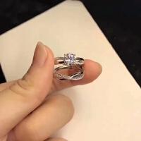 正生银饰925纯银简约时尚开口对戒指环情侣戒指送女友