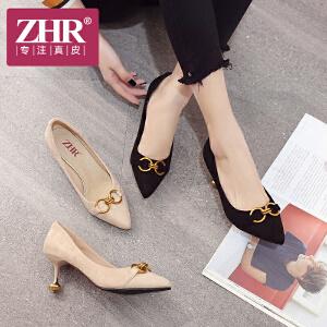 ZHR2018春季新款尖头高跟鞋欧洲站女鞋浅口小猫跟单鞋细跟休闲鞋Y70
