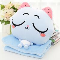 猫咪暖手抱枕被子三合一靠垫毯插手枕头两用珊瑚绒毯子