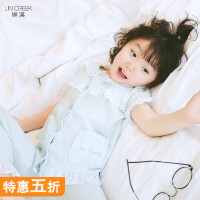 儿童睡衣女童纯棉套装秋装小孩蕾丝睡衣宝宝儿童家居服空调服套装
