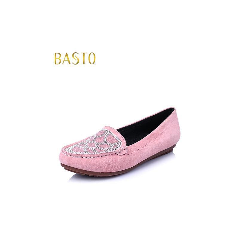 BASTO/百思图春羊皮时尚舒适平跟女单鞋Y1402AQ6
