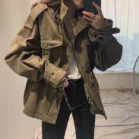 2018秋季新款工装外套女宽松军绿色港风百搭口袋收腰风衣复古上衣
