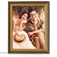 欧式实木婚纱7 16 20 24 30 36寸相框挂墙创意画框装裱定制拼图框 金色 偏深