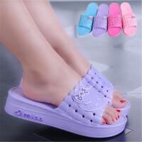 浴室拖鞋女夏季家居家用室内洗澡防滑厚底漏水塑料凉拖鞋