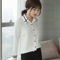 雪纺白衬衫女长袖2018春夏装新款韩版休闲百搭韩范职业打底衬衣 白色