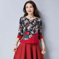 秋装新款 民族风女装上衣 中国风印花棉麻口袋拼接长袖打底衫