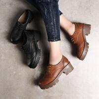青婉田春季厚底鞋女松糕底中跟单鞋布洛克小皮鞋女鞋复古真皮