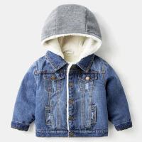 童装男童外套3加绒加厚连帽4岁儿童牛仔衣韩版2018新款宝宝上衣潮 牛仔蓝