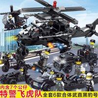 杰星特警警察飞机模型拼装积木玩具男孩儿童益智拼插6-8