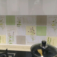 耐高温铝箔瓷砖贴易擦洗创意田园墙贴可移除厨房贴纸