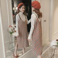 孕妇装2018秋冬装新款韩版高领毛衣针织吊带两件套套装孕妇连衣裙