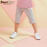 【1件5折 到手价:179】Pawinpaw卡通小熊童装夏款女童休闲运动五分裤