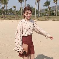 春季韩版chic宽松显瘦木耳比立领波点印花荷叶边喇叭袖衬衫女上衣