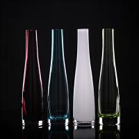 欧式单只彩色透明玻璃小花瓶花器水培花插客厅摆件装饰品