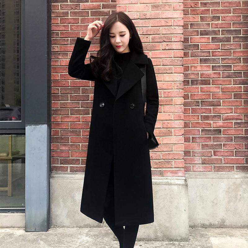 黑色呢子大衣女中长款2017冬季新款韩版女装大码加棉加厚毛呢外套 黑色(夹棉) 发货周期:一般在付款后2-90天左右发货,具体发货时间请以与客服协商的时间为准