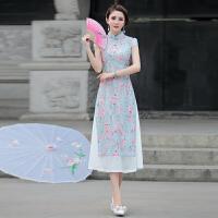2018夏装新款中国风民族风女装连衣裙中长款改良蕾丝旗袍复古长裙