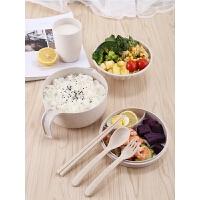 家用日式带盖泡面碗汤碗小麦秸秆餐具学生宿舍大号方便面碗筷套装
