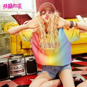 【2件3折到手价:92】妖精的口袋短袖女酷新款潮学生chic个性时髦彩虹t恤女