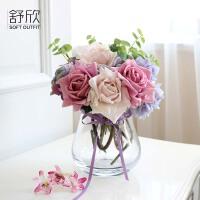 新品仿真花玫瑰花束套装假花客厅装饰花绢花餐桌茶几装饰摆件花艺SN6033