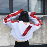 社会女韩版街舞嘻哈酷酷的衣服个性露脐bf宽松短款连帽卫衣上衣潮