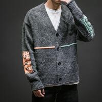2018冬季新款开衫毛衣男士加肥大码宽松V领长袖针织衫韩版潮男装