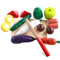 实木儿童切水果玩具切切看蔬菜切切乐厨房过家家仿真套装切蛋糕