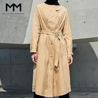 MM麦檬2017秋装新款韩版修身圆领单排扣中长款系带风衣外套女