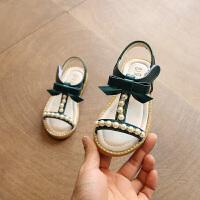 学生露趾鞋女童凉鞋蝴蝶结公主鞋新款儿童沙滩鞋