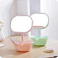 创意简约台式化妆镜带储物盒 二合一收纳储物梳妆镜可旋转公主镜旅游用品