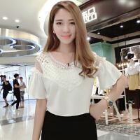 雪纺衫2018春装新品韩版女装遮肚子一字肩上衣带喇叭袖甜美系衬衫