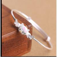 S925银手环 女生可爱凯蒂猫女孩儿童手镯 可调节大小女款推拉