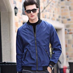 伯克龙 伯克龙 夹克男士时尚休闲拉链短款春秋季薄款修身纯色立领外套黑色Z32725